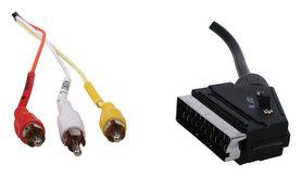 21p SCART kabel - 3x RCA met schakelaar 1,00 m