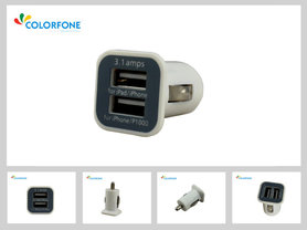 Dual USB Autolader Kop Wit