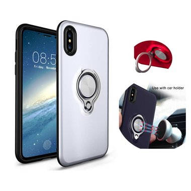 BackCover Ring voor Apple iPhone X/Xs Zilver