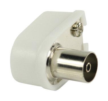Gehoekte coax connectoren coax vrouwelijk wit