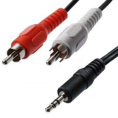 3,5 mm stereo naar RCA plug kabel, 0.2 meter